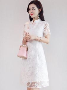 丝柏舍女装白色网纱复古连衣裙