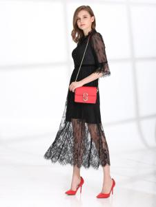 2018迪丝爱尔黑色蕾丝裙