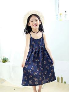 巴布朵朵童装藏青碎花吊带裙