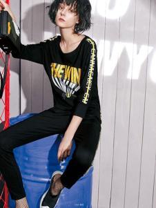 戛娜巨式女装黑色字母运动套装