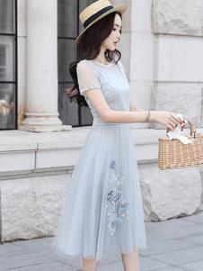 丝柏舍女装蓝色网纱印花连衣裙