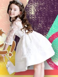 熊奈儿童装白色网纱印花连衣裙
