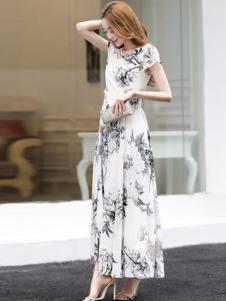 丝柏舍女装中国风修身连衣裙