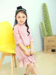 巴布朵朵童装粉色鱼尾裙