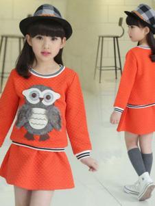 熊奈儿童装橘红裙子套装