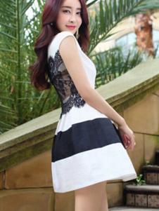 纹素女装白底黑条连衣裙