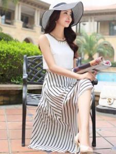 纹素女装白底黑条半身裙