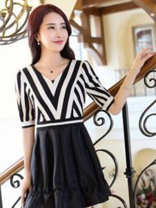 纹素女装黑白条纹连衣裙