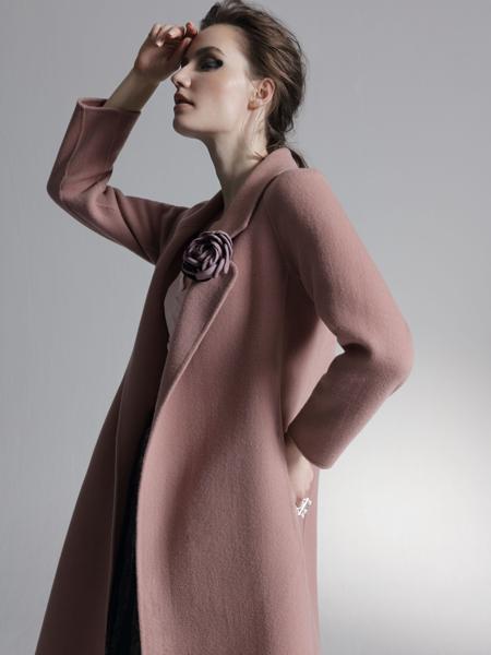 HON.B红贝缇18粉色双面呢大衣