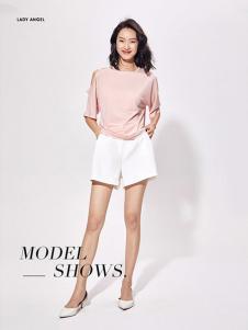 LADY ANGEL女装粉色七分袖T恤