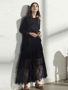 彩知丽女装黑色网纱连衣裙