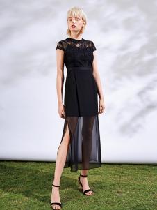 沐紫格女装黑色网纱开叉连衣裙