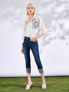 沐紫格女装白色网纱刺绣外套