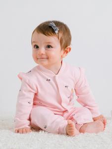JOY MORE粉色印花连体婴幼装
