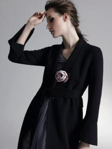 HON.B红贝缇18优雅黑色大衣