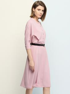 沐紫格女装粉色修身连衣裙