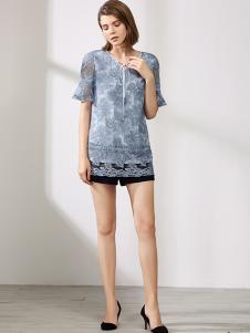 沐紫格女装蓝色T恤
