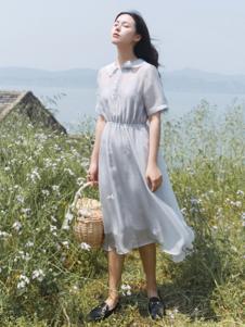 漞渡女装灰色娃娃领雪纺连衣裙