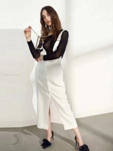 彩知丽女装白色休闲开叉背带裤