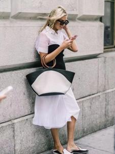 彩知丽女装白色拼接连衣裙