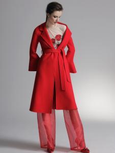 HON.B红贝缇18红色双面呢大衣