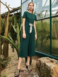 沐紫格女装绿色收腰时尚连体裤