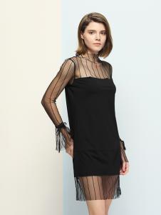 沐紫格女装黑色网纱连衣裙