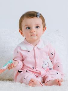 JOY MORE婴幼装粉色翻领连体衣