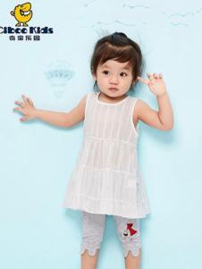 奇宝乐园童装白色无袖女裙