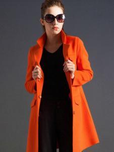 逸鸿女装橘黄色翻领大衣