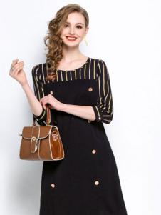 赛嫦娥女装黑色条纹拼接连衣裙