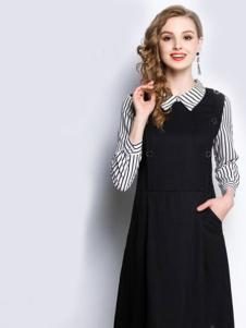 赛嫦娥女装黑色条纹假两件连衣裙