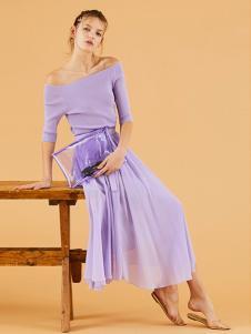 snidel女装紫色一字肩连衣裙