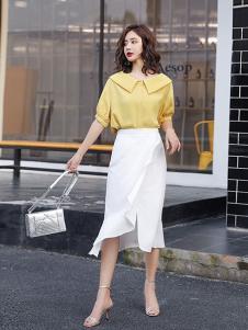 搜美女装白色不对称半身裙