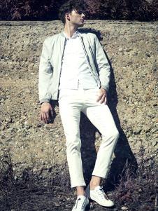 九九良品男装白色立领外套