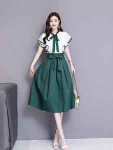 搜美女装绿色荷叶边套装裙