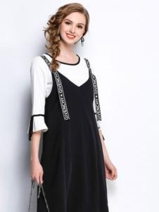 赛嫦娥女装黑色吊带连衣裙