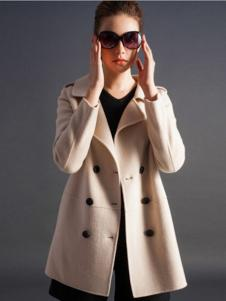 逸鸿女装米白色双排扣大衣