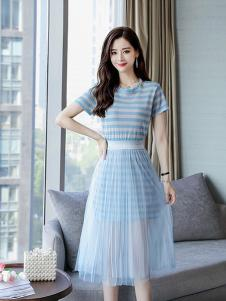 搜美女装蓝色条纹网纱套装裙