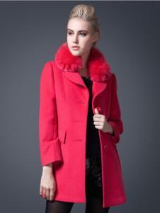 逸鸿女装梅红色单排扣大衣