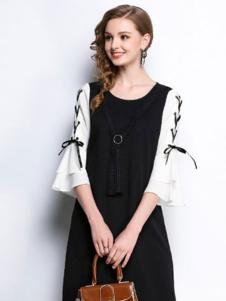 赛嫦娥女装黑色圆领连衣裙