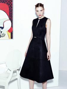 菲雍兰蝶女装黑色无袖连衣裙