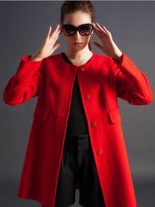 逸鸿女装红色圆领大衣