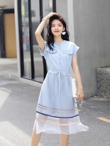 搜美女装蓝色网纱开叉连衣裙