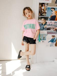 BOMBDEER童装粉色字母T恤