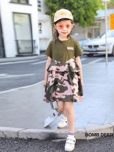 BOMBDEER童装军绿色迷彩女裙