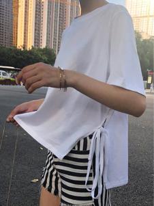 衣甸女装白色开叉上衣