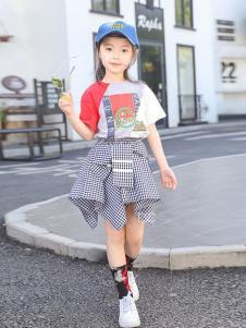 BOMBDEER童装格子不对称女裙
