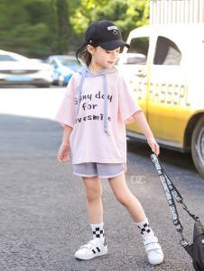 BOMBDEER童装粉色字母T恤套装