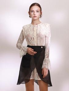 Ruby Fang女装白色蕾丝镂空连衣裙